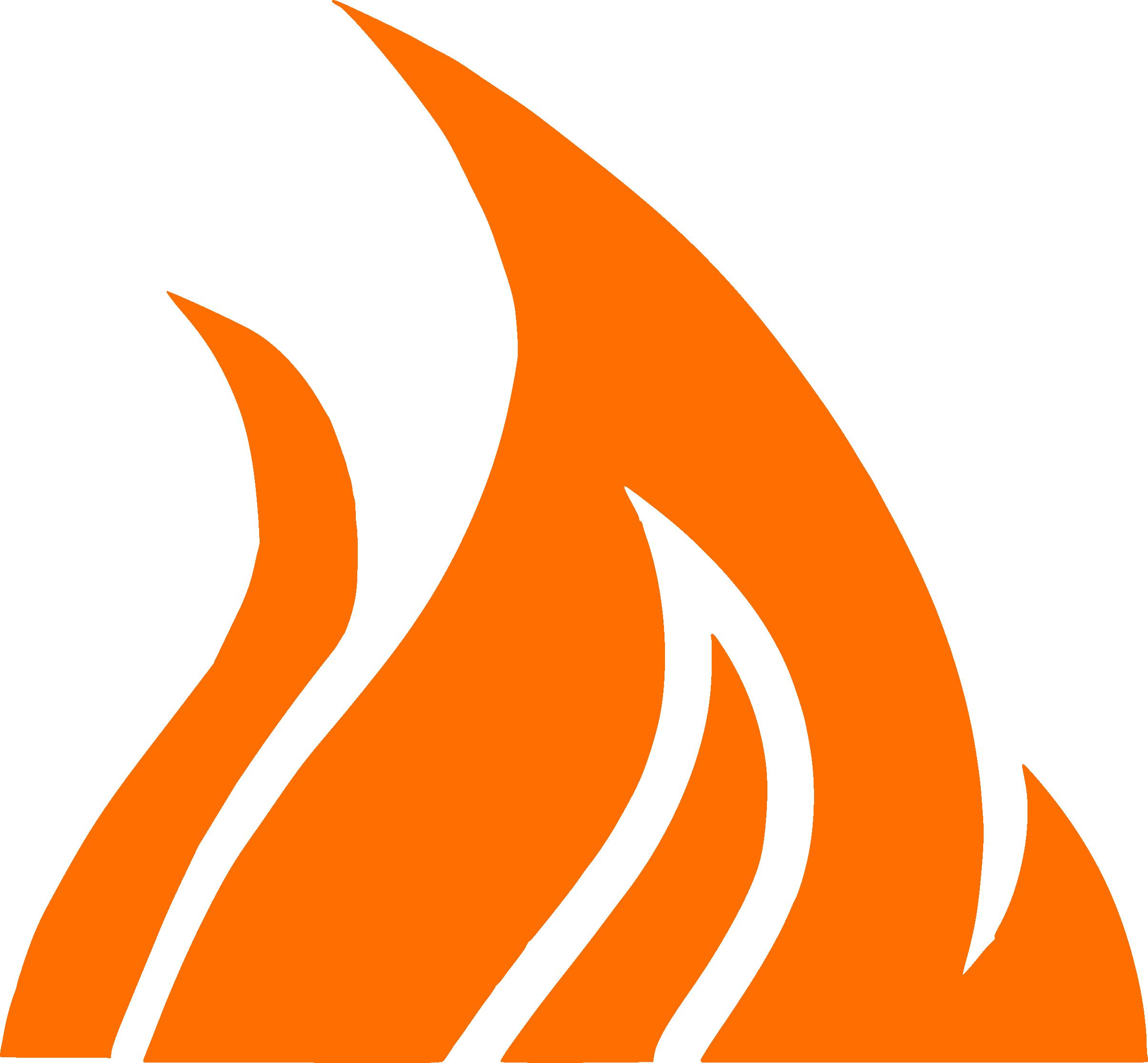 Turnback logo vlam-icoon oranje (recht)